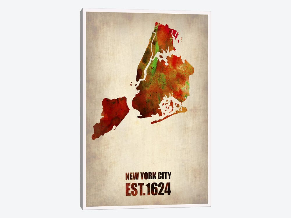 New York City Watercolor Map II by Naxart 1-piece Canvas Art Print