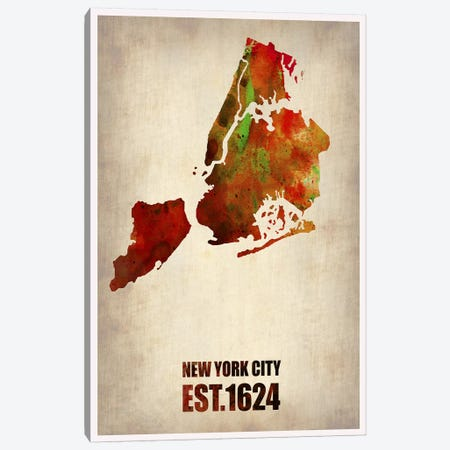 New York City Watercolor Map II Canvas Print #NAX260} by Naxart Canvas Print