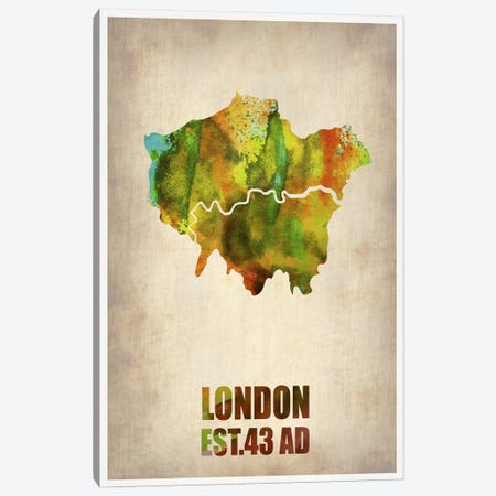 London Watercolor Map I Canvas Print #NAX261} by Naxart Canvas Art Print