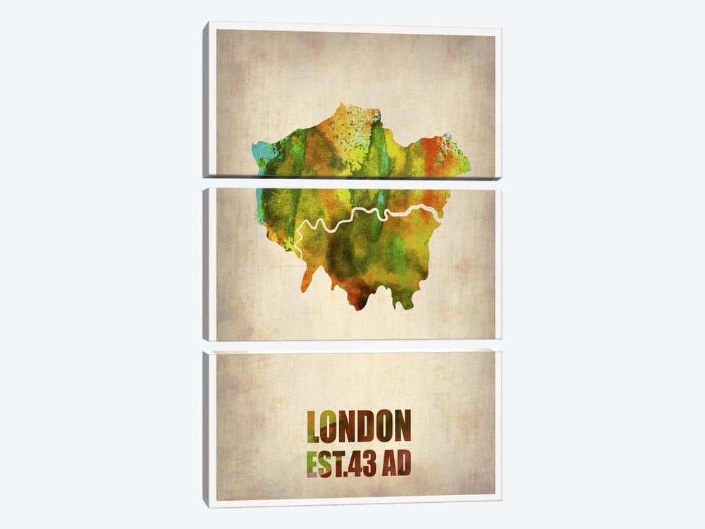 London Watercolor Map I by Naxart 3-piece Canvas Art