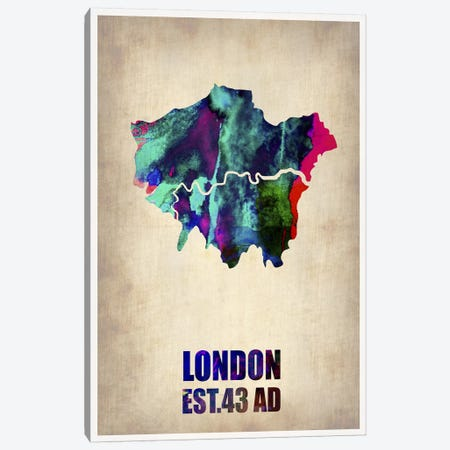 London Watercolor Map II Canvas Print #NAX262} by Naxart Canvas Art Print