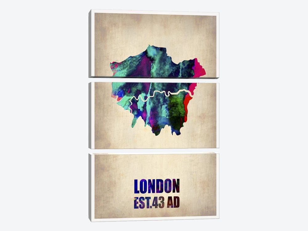 London Watercolor Map II by Naxart 3-piece Canvas Print
