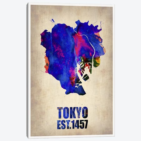 Tokyo Watercolor Map I Canvas Print #NAX263} by Naxart Canvas Art Print