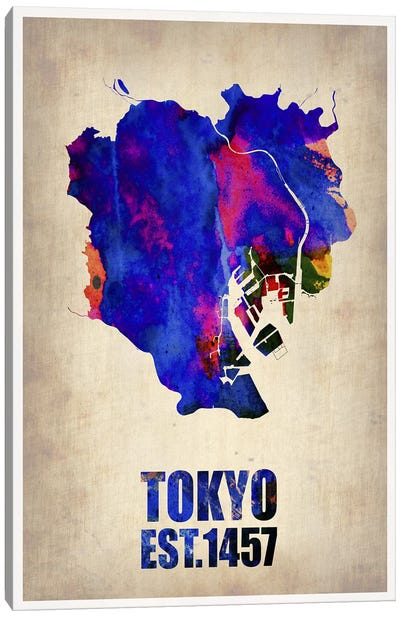 Tokyo Watercolor Map I Canvas Art Print