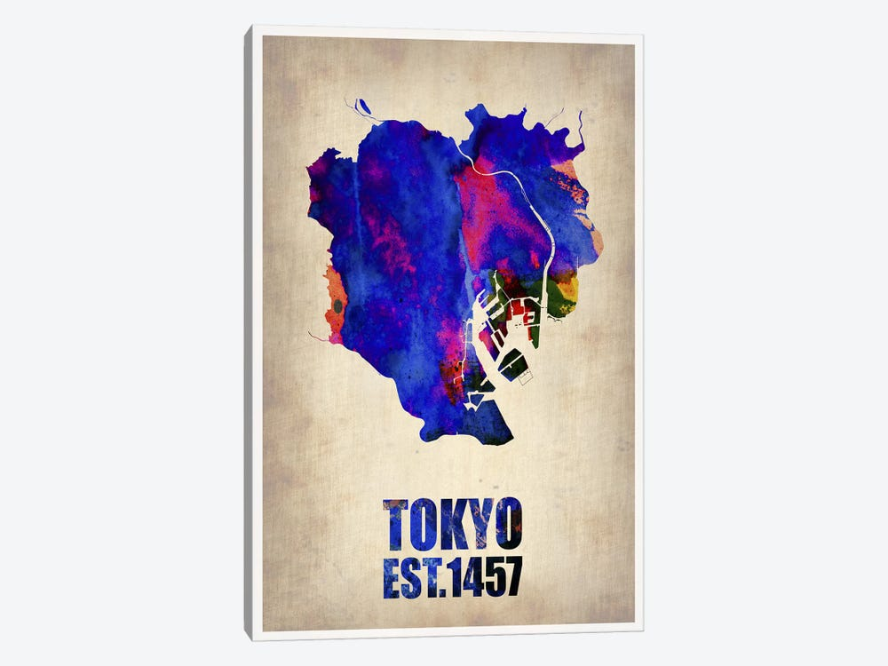 Tokyo Watercolor Map I by Naxart 1-piece Canvas Artwork