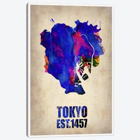 Tokyo Watercolor Map I Canvas Print #NAX263} by Naxart Canvas Art Print