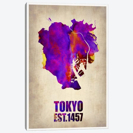 Tokyo Watercolor Map II Canvas Print #NAX264} by Naxart Canvas Art