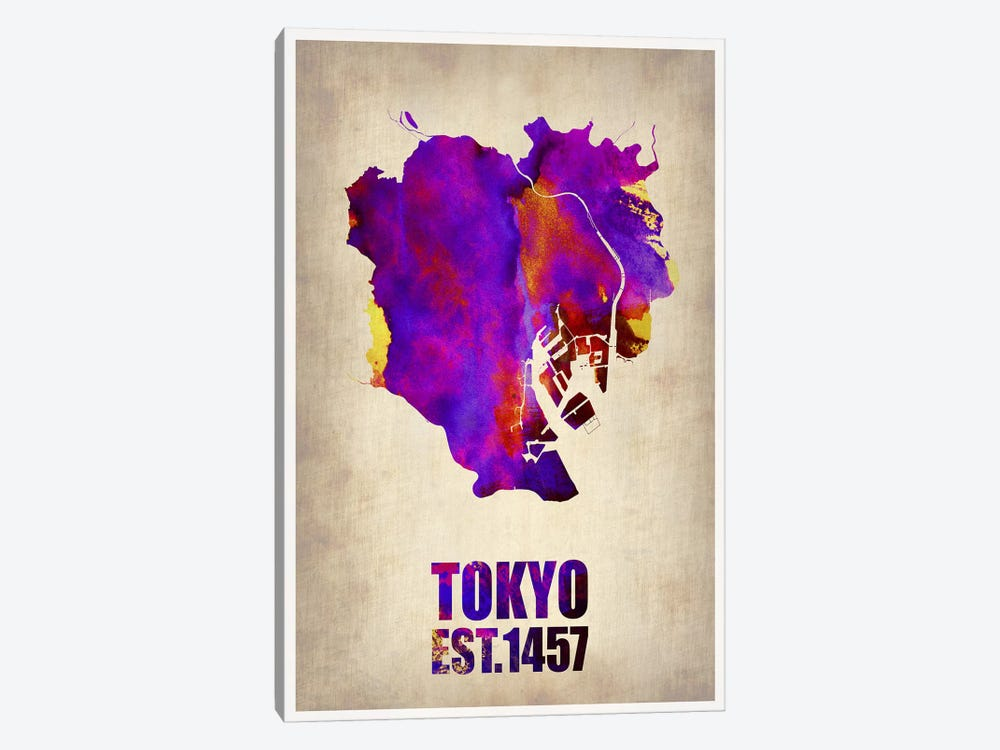 Tokyo Watercolor Map II by Naxart 1-piece Canvas Print