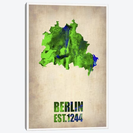 Berlin Watercolor Map Canvas Print #NAX265} by Naxart Canvas Wall Art