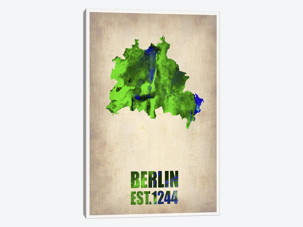 Berlin Watercolor Map by Naxart 1-piece Canvas Artwork