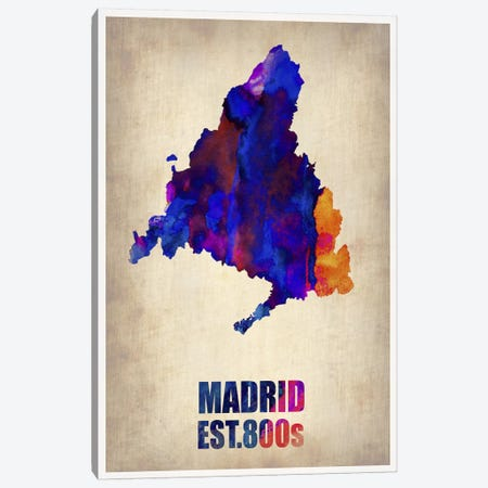 Madrid Watercolor Map Canvas Print #NAX266} by Naxart Canvas Wall Art