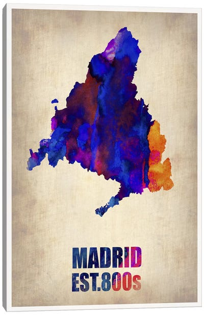 Madrid Watercolor Map Canvas Print #NAX266