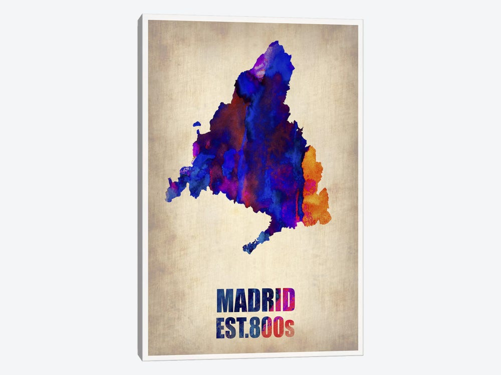 Madrid Watercolor Map by Naxart 1-piece Canvas Print