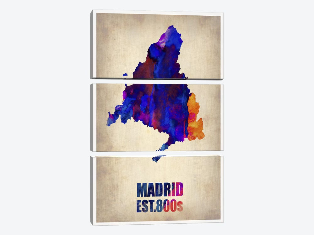 Madrid Watercolor Map by Naxart 3-piece Canvas Print