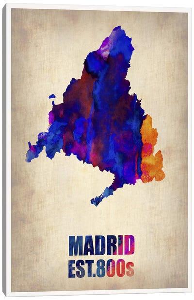 Madrid Watercolor Map Canvas Art Print