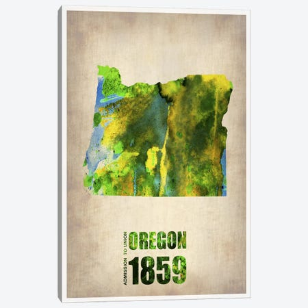 Oregon Watercolor Map Canvas Print #NAX267} by Naxart Canvas Wall Art