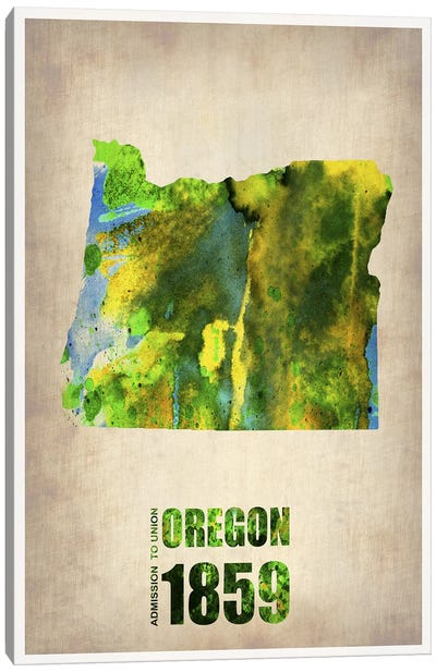 Oregon Watercolor Map Canvas Art Print