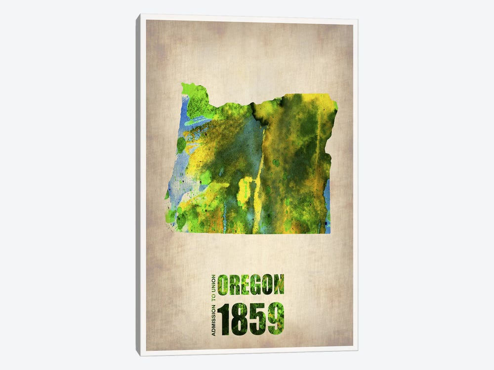 Oregon Watercolor Map by Naxart 1-piece Canvas Artwork