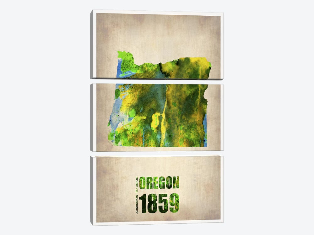 Oregon Watercolor Map by Naxart 3-piece Canvas Art