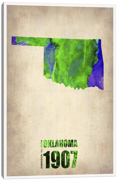 Oklahoma Watercolor Map Canvas Art Print