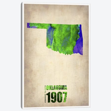 Oklahoma Watercolor Map Canvas Print #NAX268} by Naxart Canvas Print