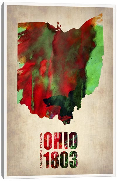 Ohio Watercolor Map Canvas Print #NAX269