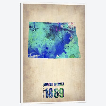 North Dakota Watercolor Map Canvas Print #NAX270} by Naxart Canvas Wall Art