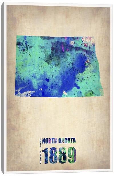 North Dakota Watercolor Map Canvas Art Print