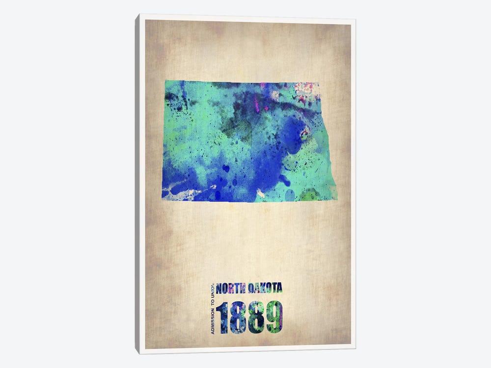 North Dakota Watercolor Map by Naxart 1-piece Canvas Art