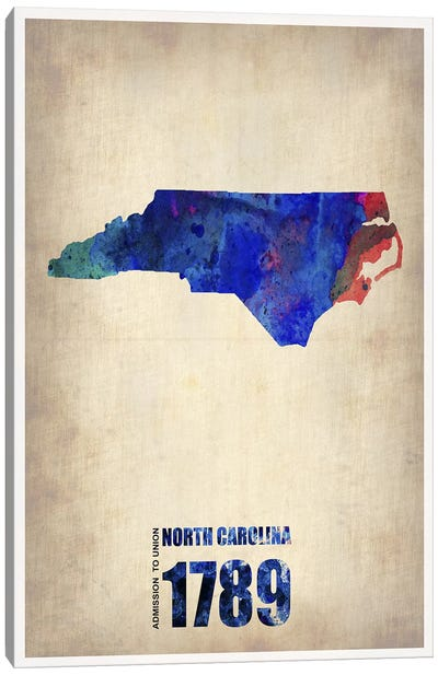 North Carolina Watercolor Map Canvas Art Print