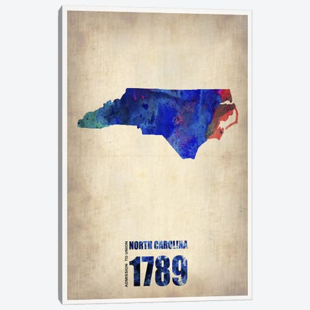 North Carolina Watercolor Map 3-Piece Canvas #NAX271} by Naxart Canvas Art
