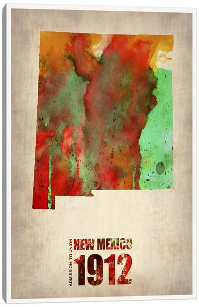 New Mexico Watercolor Map Canvas Print #NAX272