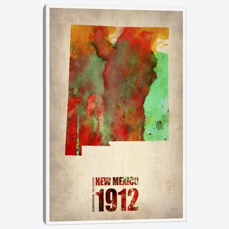 New Mexico Watercolor Map Canvas Print #NAX272} by Naxart Canvas Art