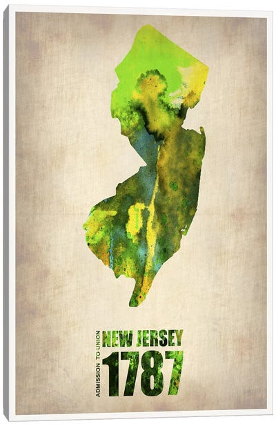 New Jersey Watercolor Map Canvas Print #NAX273