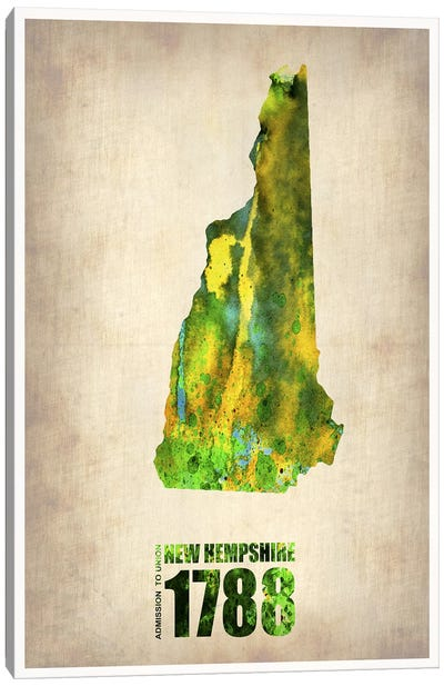 New Hampshire Watercolor Map Canvas Print #NAX274