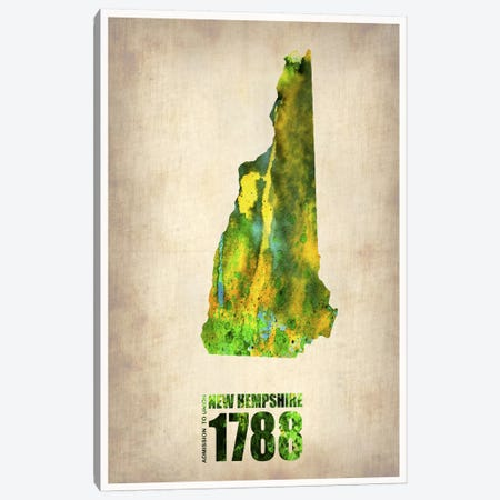 New Hampshire Watercolor Map 3-Piece Canvas #NAX274} by Naxart Canvas Art Print