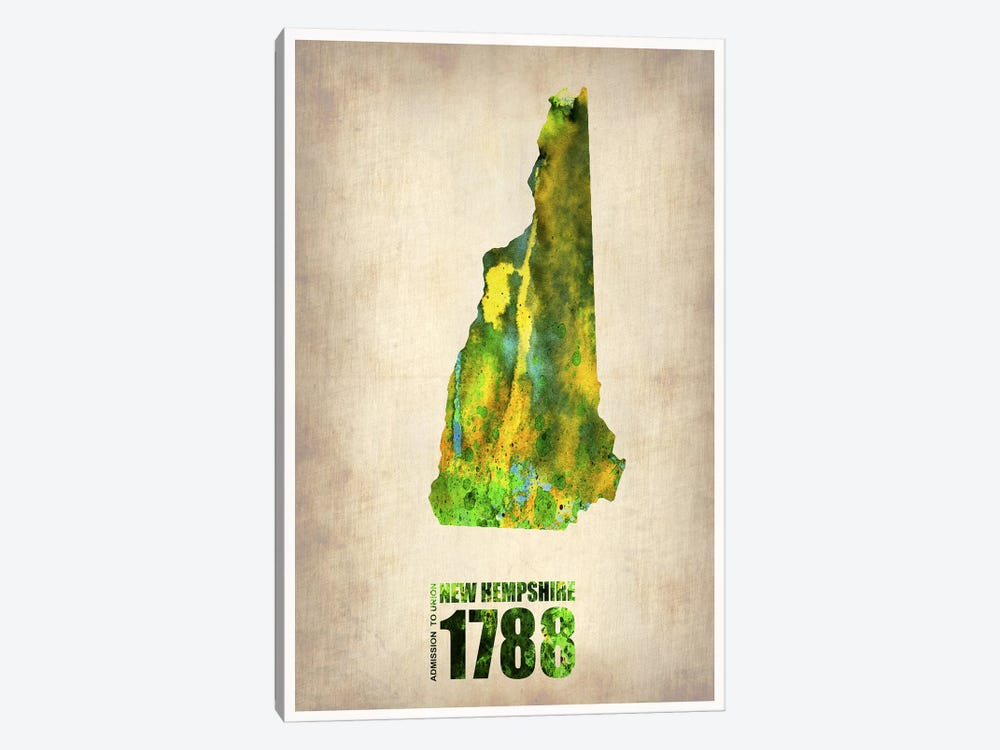 New Hampshire Watercolor Map by Naxart 1-piece Canvas Artwork