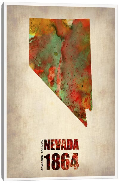 Nevada Watercolor Map Canvas Art Print