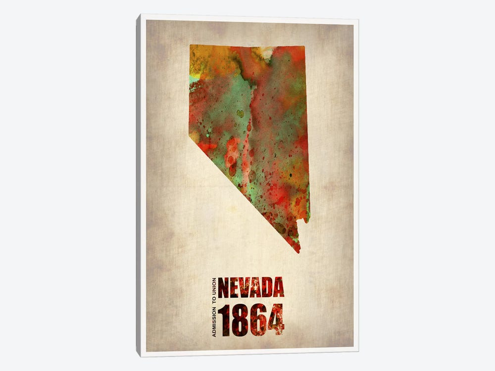Nevada Watercolor Map by Naxart 1-piece Canvas Art Print