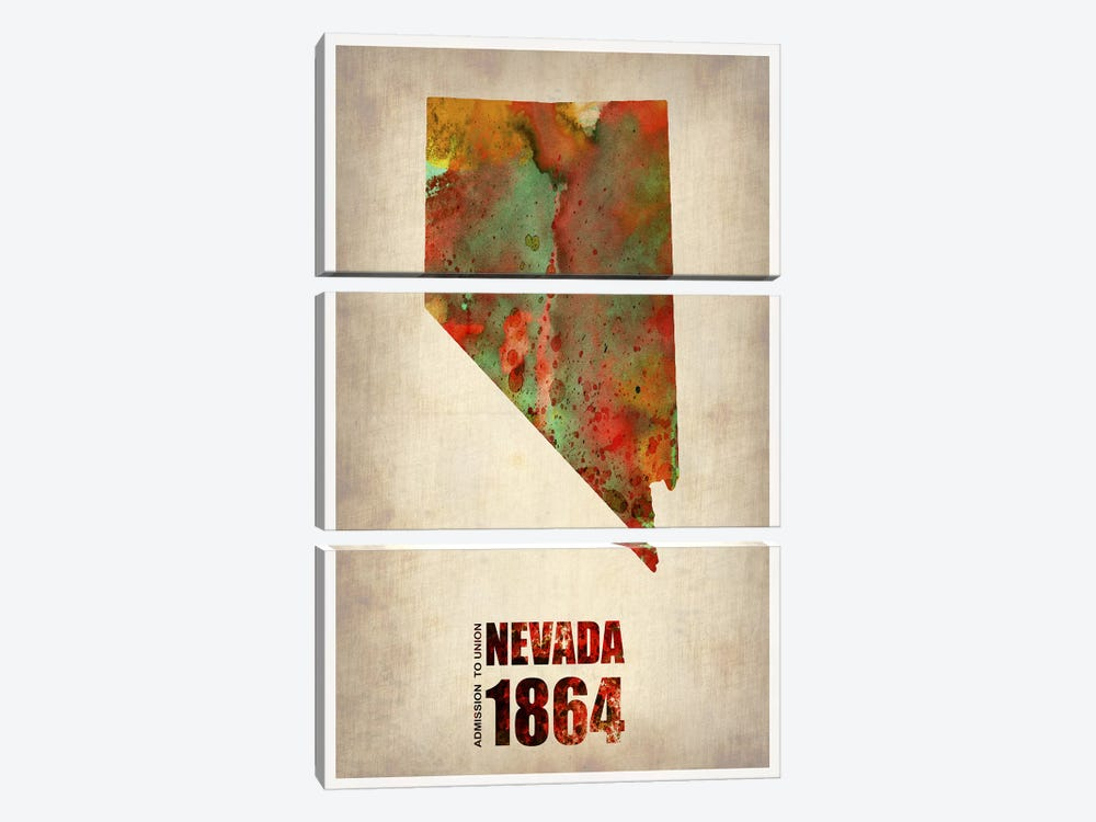 Nevada Watercolor Map by Naxart 3-piece Art Print