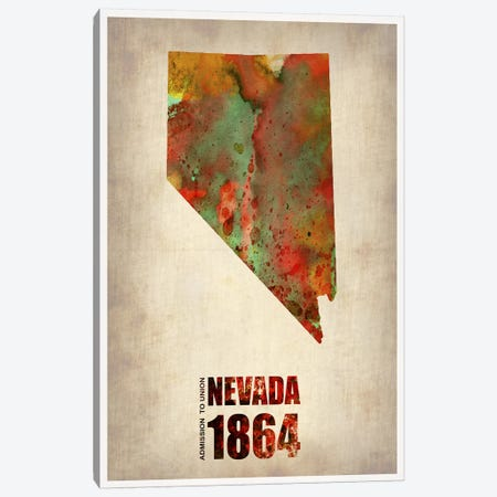 Nevada Watercolor Map Canvas Print #NAX275} by Naxart Canvas Print