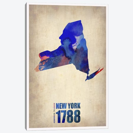 New York Watercolor Map Canvas Print #NAX276} by Naxart Canvas Art Print