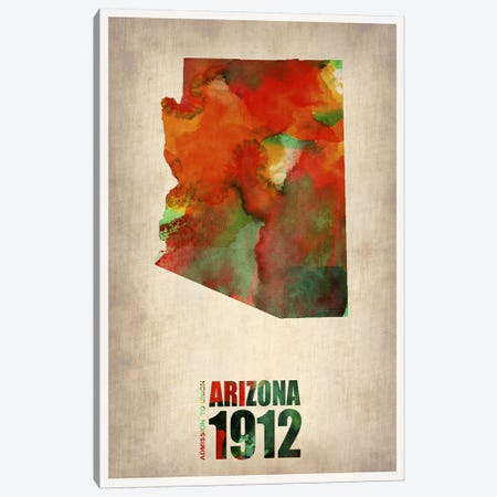 Arizona Watercolor Map Canvas Print #NAX277} by Naxart Canvas Print