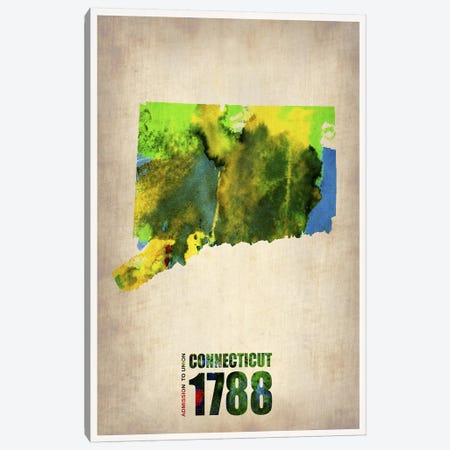 Connecticut Watercolor Map Canvas Print #NAX279} by Naxart Canvas Art