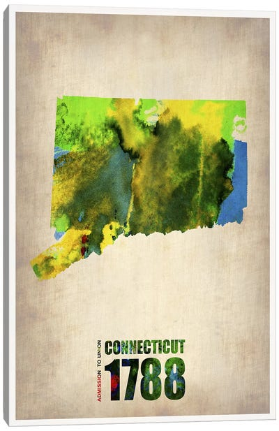 Connecticut Watercolor Map Canvas Art Print