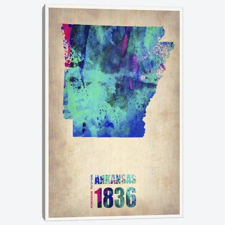 Arkansas Watercolor Map Canvas Print #NAX280} by Naxart Art Print