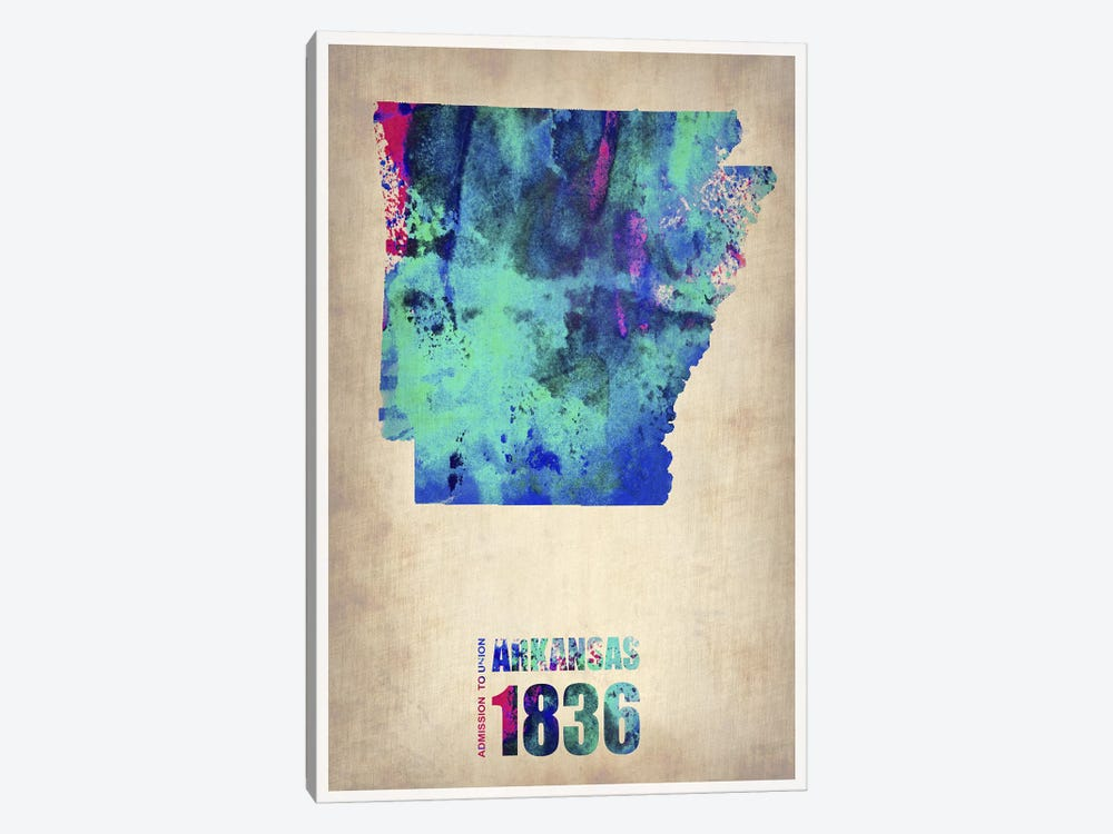 Arkansas Watercolor Map by Naxart 1-piece Canvas Art Print