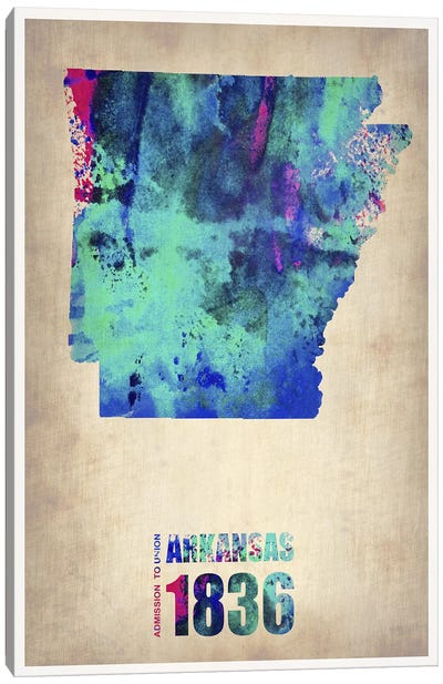 Arkansas Watercolor Map Canvas Art Print