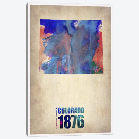 Colorado Watercolor Map Canvas Print #NAX281} by Naxart Canvas Print