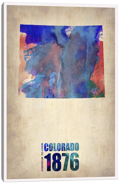 Colorado Watercolor Map Canvas Art Print